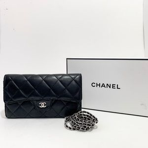 Chanel AUTH Wallet With Chain Classic Flap Black